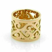 Hermes 18k Yellow Gold Open Swirl Pattern 15mm Wide Band Ring Size 52