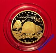 100 Roubles 2008 Russia Protect Our World The European Beaver Gold Proof