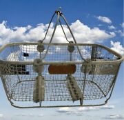Antique Galvanized Steel Mesh Wire Shopping Basket With Handles Farmhouse