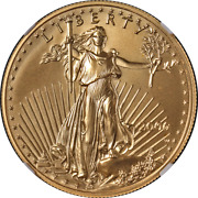 2006-w Gold American Eagle 50 Ngc Ms70 Burnished Brown Label - Stock