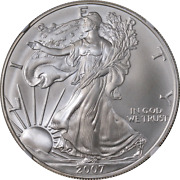 2007 Silver American Eagle 1 Ngc Ms70 Brown Label Scales Right - Stock