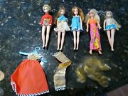 Dawn Doll Topper Toys 1970s Vintage Outfits Red Gold Dress Wig Lot 5 Dolls