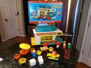 Vtg Fisher Price Little People Truck Camper Boat Motorcycle Complete W Box 994