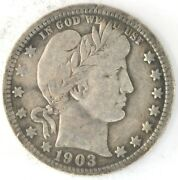 1903 O Barber Quarter Dollar Us 25 Cent 90 Silver Coin New Orleans Investment