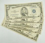 Lot Of 5 1953 A-f Us 5 Dollar Silver Certificate Paper Money Fine Grade Notes