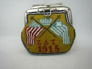 Rare Vintage Antique Pow Glass Bag Dated 1915 With American Greek Flags