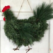 Christmas Rooster Wreath Xmas Garland Front Door Hanging Decor Farmhouse Chicken