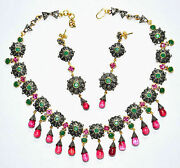 Victorian Style 10.16ctw Rose Cut Diamond Silver Ruby Emerald Necklace Set T925