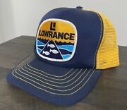 Vintage Lowrance Trucker Mesh Snap Back Cap Hat Made In Usa Blue Yellow Fishing