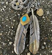 Goro's Fine Gold Turquoise Gold Oversized Feather Chain Set Gold Metal F/s Jpn