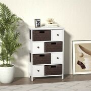Storage Cabinet Accent Cabinet Hallway Side Cupboard W/4 Drawers And Wicker Basket