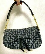 Christian Dior Trotter Double Saddle Bag Hand Bag Purse Navy Canvas Leather Auth