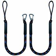 2 Pack Bungee Boat Dock Line Mooring Rope With Stainless Steel Clip Accessories