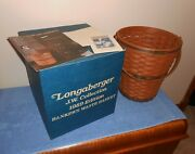 1989 Longaberger J.w. Collection Bankers Waste Basket And Box And Brochure