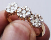 0.88ct Natural Round Diamond 14k Solid Yellow Gold Cluster Flower Ring Q440