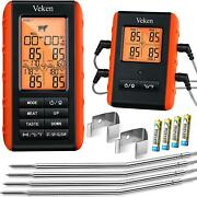 Wireless Meat Thermometer, 4 Probes Forvgrill Bbq Smoker, 490 Feet Remote