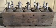 Rare And Vintage Seltzer Soda Bottle Wood Carrying Crate 10 Glass Seltzer Bottles