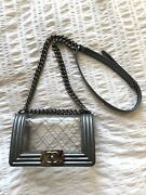 Silver Metallic Calfskin Leather And Transparent Pvc Naked Small Le Boy Bag