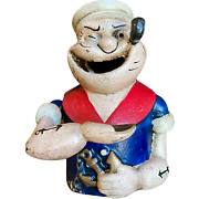 Popeye Mechanical Bank Cast Iron With Painted Antique Finish Hand Lifts Coin