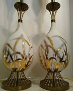 Mcm Rare Mid Century Modern Torchiere Gold Wheat Rewired Pair Of Matching Lamps