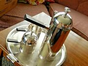 Art Deco Lurelle Guild Silver Plated Coffee Set Of Four 5864 And 5817