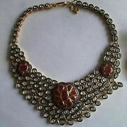 7.60ctw Rose Cut Diamond Ruby Silver Victorian Style Polki Necklace S942
