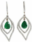 1.31ct Natural Round Diamond 14k Hallmark Solid White Gold Emerald Earrings F529