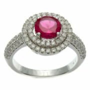1.44ct Natural Real Round Diamond 14k Hallmark Gold Ruby Cocktail Ring E722