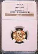 1968 S Lincoln Cent Ngc Ms66rd Bright Red Great Luster Premium Quality G155