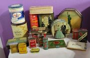 Large Lot Of Antique Tins Spices Empty Tobacco Tins Bottled Spices