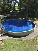 28 Ft Round Above Ground Pool With Solar Cover