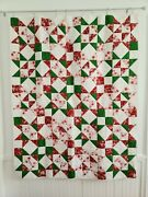 Handmade Patchwork Star Pattern Christmas Quilt Wall Hanging Size 54 X 69