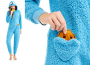 Cookie Monster Removable Cookies Union Suit Costume Hooded Pajama Onesie0