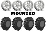 Kit 4 Superatv Terminator Tires 34x10-18 On Fuel Runner Polished D204 Wheels Can