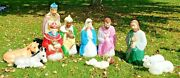 Nativity Blow Mold 11 Piece Set Lighted Christmas Large Mostly Empire Vintage