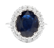 6.40 Carats Natural Sapphire And Diamond 14k Solid White Gold Ring