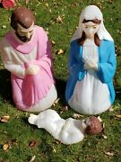 Vintage Empire Nativity Mary, Joseph And Baby Jesus Blow Mold Plastic Lighted 3 Pc