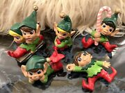 5 Vintage Christmas Pixie Elf Ceramic Figurines Green Hats And Red Bottoms