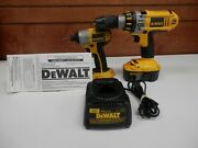 Dewalt Dc925 1/2'' Drill And Dc825 1/4 Cordless Impact 18v W/ Battery And Charger