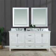 Isla 72 In. Solid Wood Double Bathroom Vanity In White With Mirrors
