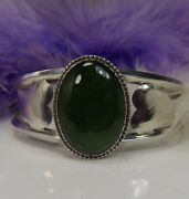 Vintage Hearts Green Onyx Hand Crafted 6 1/2 Sterling Silver .925 Cuff Bracelet