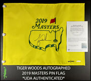 Tiger Woods Autographed 2019 Masters Augusta National Pin Flag Uda Coa