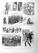 Original Old Antique Print 1885 Royal Naval Reserve Whitstable Siers War 19th
