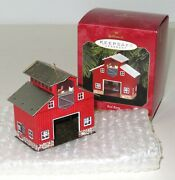 1999 Hallmark Pressed Tin Red Barn Chickens And Antiques Sign On Back Of Barn New