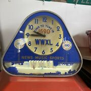 Vintage Early Neon Clock Sign Reverse Painted Glass Peoria Il Radio Station Wwxl