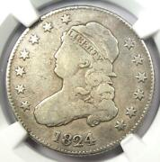 1824/2 Capped Bust Quarter 25c - Certified Ngc Vg Details - Rare Date Coin
