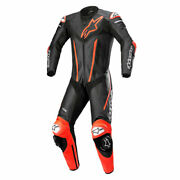 Alpinestars Fusion Motorbike Motorcycle One Piece Leather Suit Black / Fluo Red