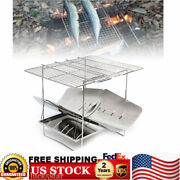 Portable Folding Bbq Barbecue Grill Stainless Steel Outdoor Camping Cooker Us