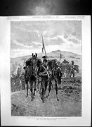 Old Antique Print Lancers Leading Horses Camp After Long Days March 1890 19th
