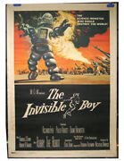 The Invisible Boy 1957 Original One Sheet Poster Linen Back 27 X 41 Very Fine